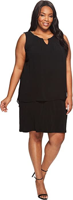 Plus Size Sleeveless Pleat Dress with Chain