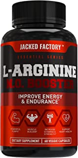 L Arginine 1500mg Patented Nitrosigine - Extra Strength L-Arginine Nitric Oxide (NO) Booster Pre Workout Supplement for Muscle Growth, Pumps, Vascularity, Energy - 60 Veggie Pills