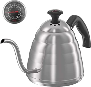 Gooseneck Pour Over Coffee Kettle, ENLOY Coffee Kettle Use for Drip Coffee and Tea, Stainless Steel Pour Over Kettle with Fixed Thermometer for Exact Temperature (34 oz)