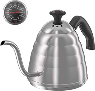 ENLOY Gooseneck Pour Over Coffee Kettle, Coffee Kettle Use for Drip Coffee and Tea, Stainless Steel Pour Over Kettle with Fixed Thermometer for Exact Temperature (34 oz)