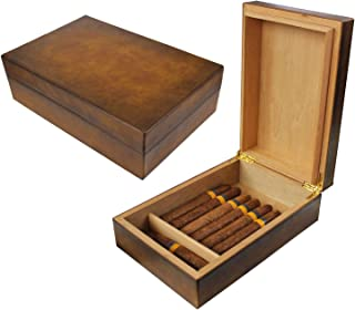 AMANCY Vintage Brown Leather 10-20 Cigar Humidor with Digital Hygrometer and Humidifier