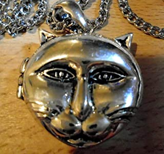 Key West Gypsy Beautiful 925 Silver Plate Big CAT FACE 69 cm Chain, magnetised Locket, Made in USA 10 Year Guarantee