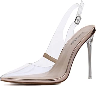 Shoe'N Tale Women's Transparent Ankle Strap Pointy Toe Slingback Patent Stiletto High Heel Sandals