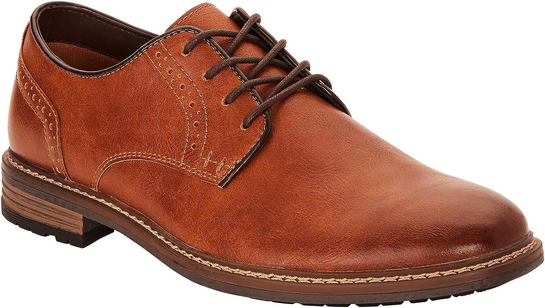 George [g] Men's Adam Plain Toe Oxford Dress Shoe (Cognac Brown)