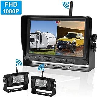 LeeKooLuu 1080P Digital Wireless Backup Camera Kit RV Observation System 7'' DVR Monitor Split/Quard Screen for Trailers,Trucks,Motorhomes,5th Wheel IP69K Waterproof Super Night Vision