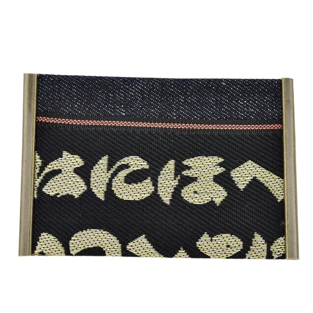エスカレーター我慢する便利さ畳縁×赤耳デニムのカードケース、名刺入れ【いろは】倉敷発日本産の高級大宮畳縁を使用した和柄カード入れ