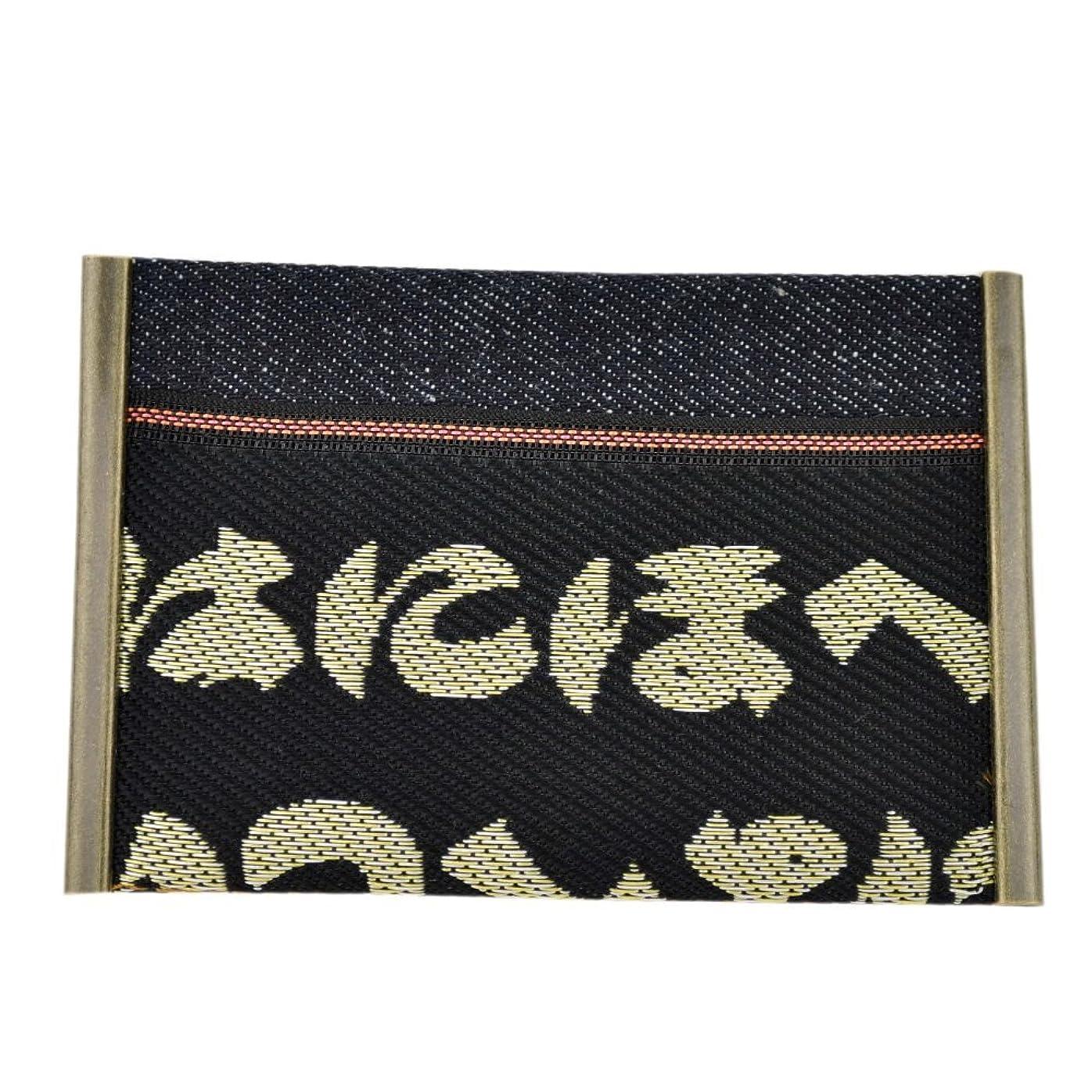 隔離する選挙チャーミング畳縁×赤耳デニムのカードケース、名刺入れ【いろは】倉敷発日本産の高級大宮畳縁を使用した和柄カード入れ