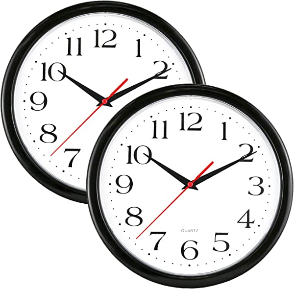 UrbanWare 2 Pack Silent Decorative 10 Wall Clock Quartz Sweep Easy To Read Round Black Frame Battery Operated White Face 10 Inch