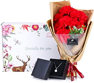 Single Pearl Necklace and Carnation Flower Bouquet Gift for Her, Flower and Jewelry Gift Box, Best, Birthday Gifts for Mom Woman Women [Red]