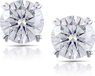 DovEggs Solid 14K White Gold 2ct 6.5mm GH Color Heart Arrows Cut Moissanite Basket Stud Earrings Push Back for Women