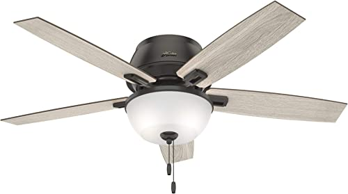 2021 Hunter Fan Company 50274 Hunter Donegan Indoor Low discount Profile Ceiling wholesale Fan with LED Light and Pull Chain Control, 52, Noble Bronze Finish online sale