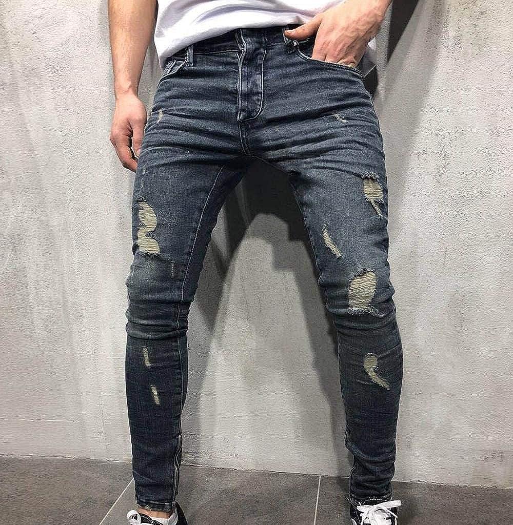 Lannister Fashion Pantalons pour Hommes Jean Fit Slim Pantalon Vêtements de fête Distressed Torn Jeans Frangés Jeans Jeans Jeans Destroyed Regard Blau