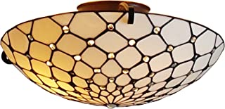 Tiffany Style Ceiling Fixture Lamp Jeweled 17
