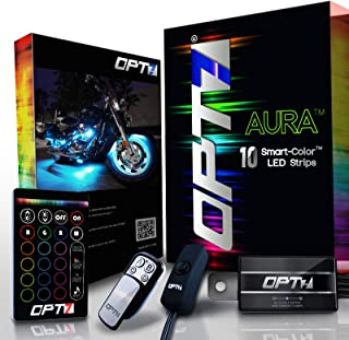 10pc Aura Motorcycle LED Light Kit | Multi-Color Accent Glow Neon Strips w/Switch for Cruisers