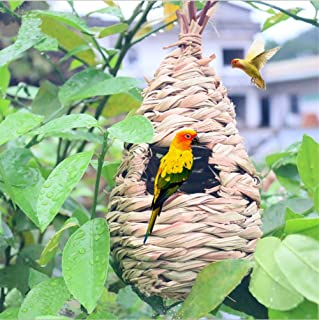 Flying Spoon Grass Bird Hut Teardrop Hanging Bird Nest 100% Natural Fiber Hand-Woven Bird House-Provides shelter for Finch & Canary