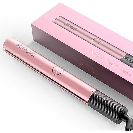 KIPOZI Plancha de Pelo Profesional, Titanio Plancha y Rizador 2 en 1, Modelador Multifunción Alisa, Ondula y Riza cabello, Pantalla LCD Temperatura Ajustable (Oro Rosa)