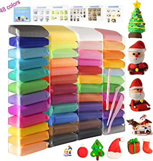 Modeling Clay 48 Colors, Air Dry Clay Magic Clay with Tools and English Manuals 48 Pieces 26.5 Ounce