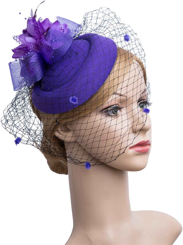 Cizoe Fascinator Hair Clip Pillbox Hat Bowler Feather Flower Veil Wedding Party Hat Tea Hat(1Purple)