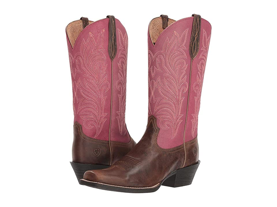 Ariat Round Up Stockyards (Barnwood/Raspberry) Cowboy Boots