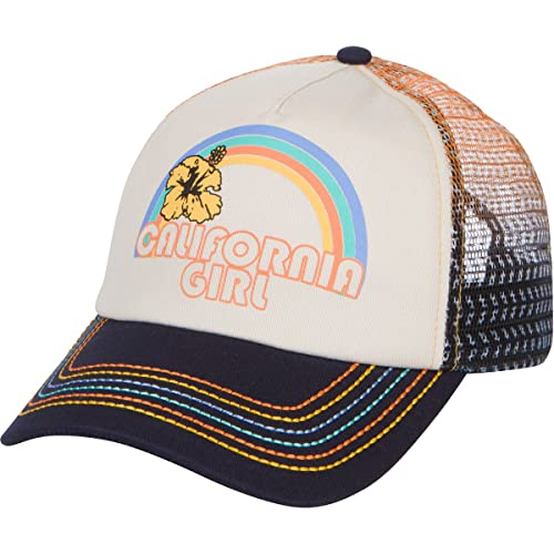 20d49e34f24 California Girl Trucker Snapback Hat - Vintage Cream with Rainbow Stitching