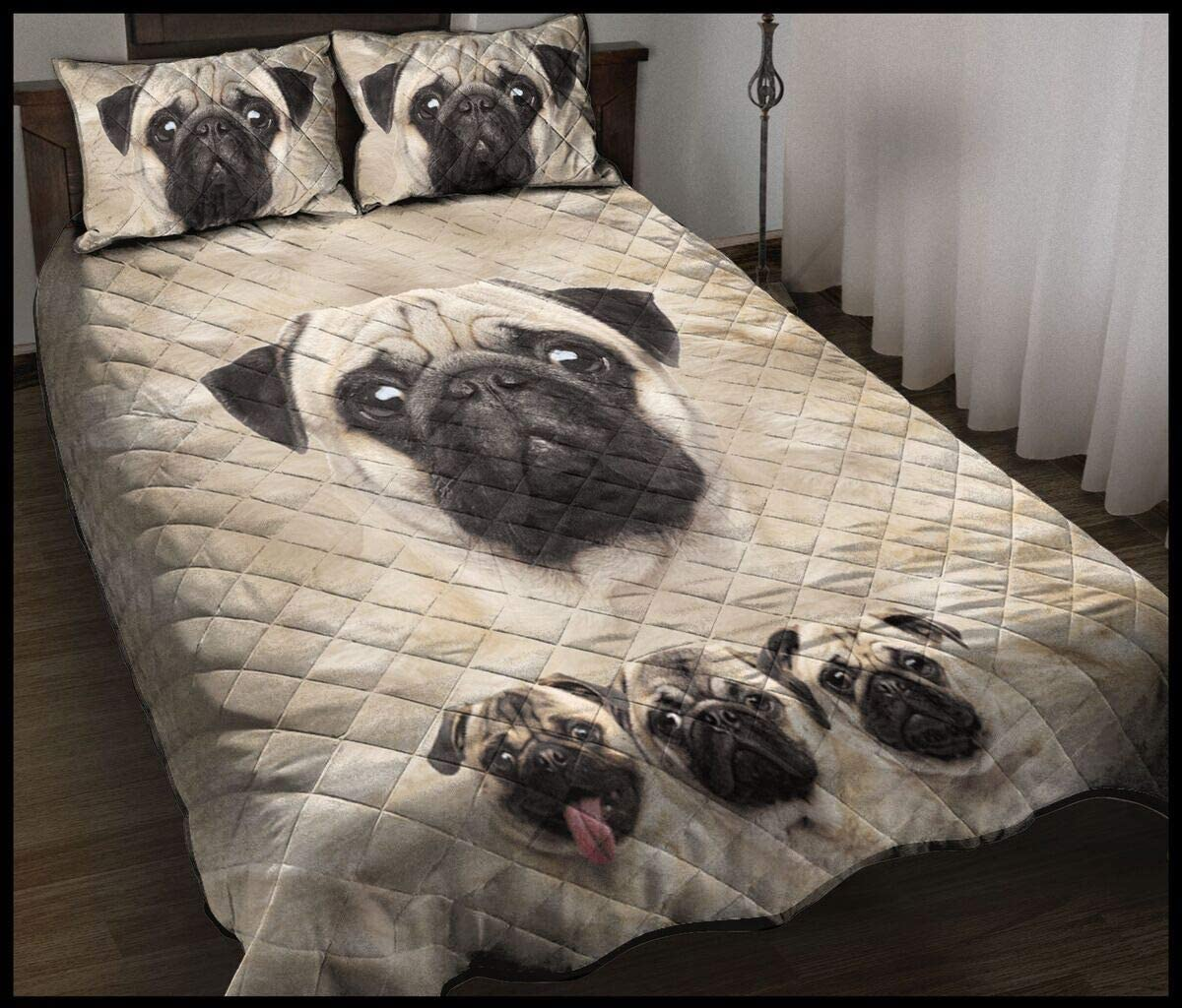 Personalized Awesome Black and White Quilt Dog Pug Family New Manufacturer regenerated product Free Shipping