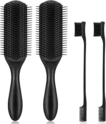 discount 4 Packs 9 Row Styling Brush 9-Row Cushion Nylon Bristle 9 Row Women Styling Large Hair high quality Brush for Detangling and sale Volumizing, Anti-static Rubber Pad online