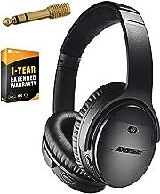 Bose QuietComfort 35 (Series II) Wireless Headphones, Noise Cancelling, Alexa voice control - Black + 1 Year Extended Warranty + Deco Gear 6.35mm to 3.5mm Adaptor - Value Bundle