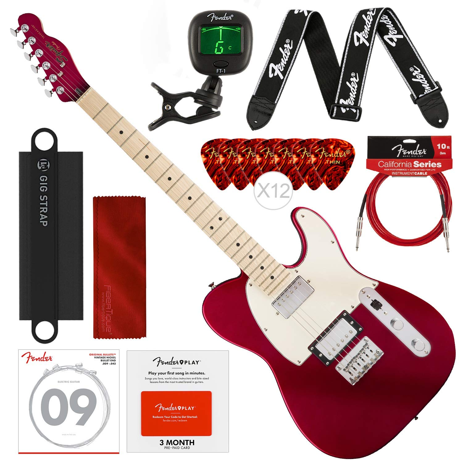Cheap Squier by Fender Contemporary Telecaster Electric Guitar HH Dark Metallic Red with Fender Play Pre-Paid Card Tuner Strap Strings Picks Cable & Deluxe Bundle Black Friday & Cyber Monday 2019