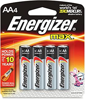 Energizer E91BP4 Energizer Alkaline Battery, AA, 4/PK, BKSR
