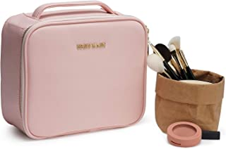 """Makeup Bag Travel Cosmetic Bag, BEGIN MAGIC 10"""" PU Leather Portable Organizer Professional Cosmetic Train Case Cute Makeup Box with Removable Dividers & Brush Section for Women Girls Travel-Pink"""
