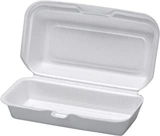 Dart 72HT1, 7x4x2-Inch Performer White Hot Dog Foam Container with Removable Hinged Lid, Take-Out Disposable Sandwich Snack Containers (100)