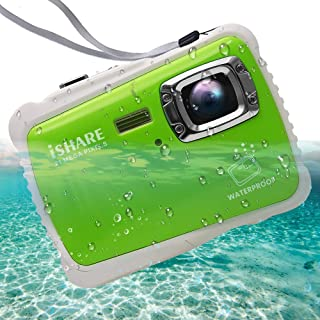 """Waterproof Digital Camera for Kids, ishare Update Underwater Camera with 2.0"""" LCD, 8X Digital Zoom, 1080p Flash and Mic for Girls/Boys(Green)"""