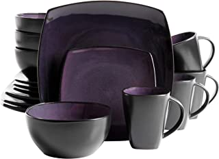 Gibson Soho Lounge Dinnerware set, Square, Purple