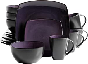 Gibson Soho Lounge 16-Piece Square Reactive Glaze Dinnerware Set, Purple.