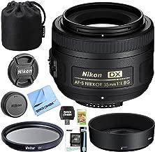 Nikon AF-S DX NIKKOR 35mm f/1.8G Lens with Auto Focus for Nikon F-mount DSLR Cameras Exclusive Accessory Set with 52mm Multicoated UV Protective Filter Kit + Tulip Lens Hood Essential Bundle