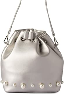 Lenz Bucket Bag For Women, Leather, Metallic Silver - S18-B003