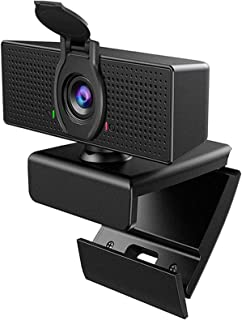 Webcam with Microphone, 1080P HD Webcam & Privacy Cover, USB Plug and Play Laptop PC Desktop Web Camera, 110-Degree View A...