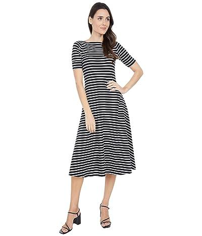 LAUREN Ralph Lauren Petite Stretch Cotton Maxi Dress (Polo Black/Mascarpone Cream) Women
