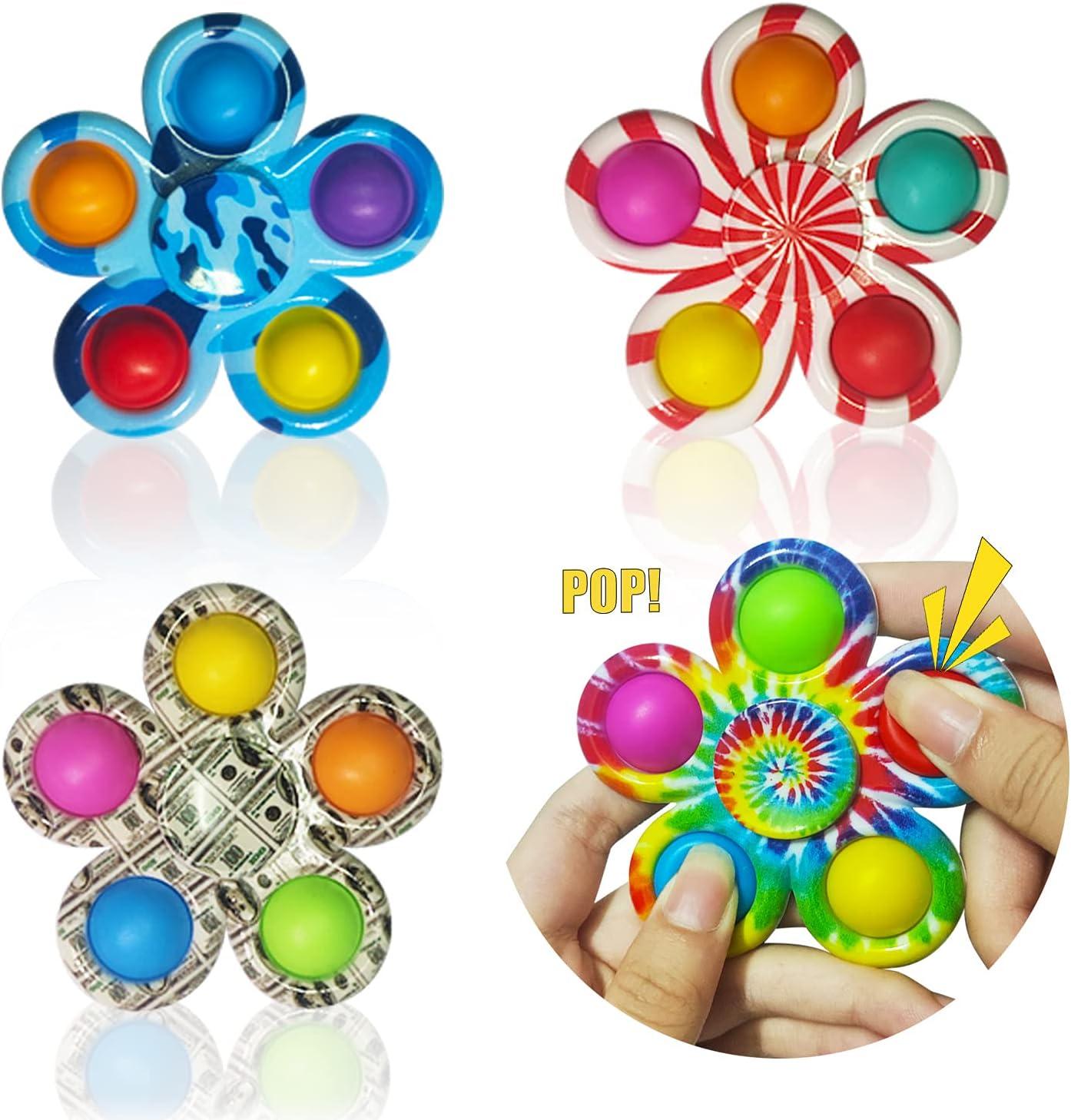 Cutylgla Pop Fidget Spinners 4 Pack 2 in 1 Pop Bubble Dimple Fid