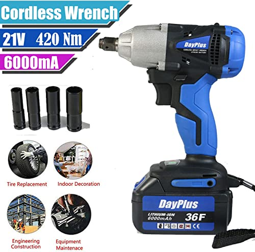 high quality 18V Cordless Impact Wrench Power Tool Kit 1/2 Inch Chuck online sale Variable Speed lowest 420Nm High Torque with 6000mAH Li-ion Battery Fast Charger Carrying Case and 4 Sockets Set LED Light 2020 Newest Design (Blue) online sale