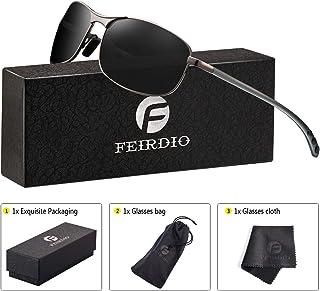 f7e2a78aaf Rectangular Sport Polarized Sunglasses for Men - Feirdio Mens Sunglasses  Sports Metal Frame 100% UV