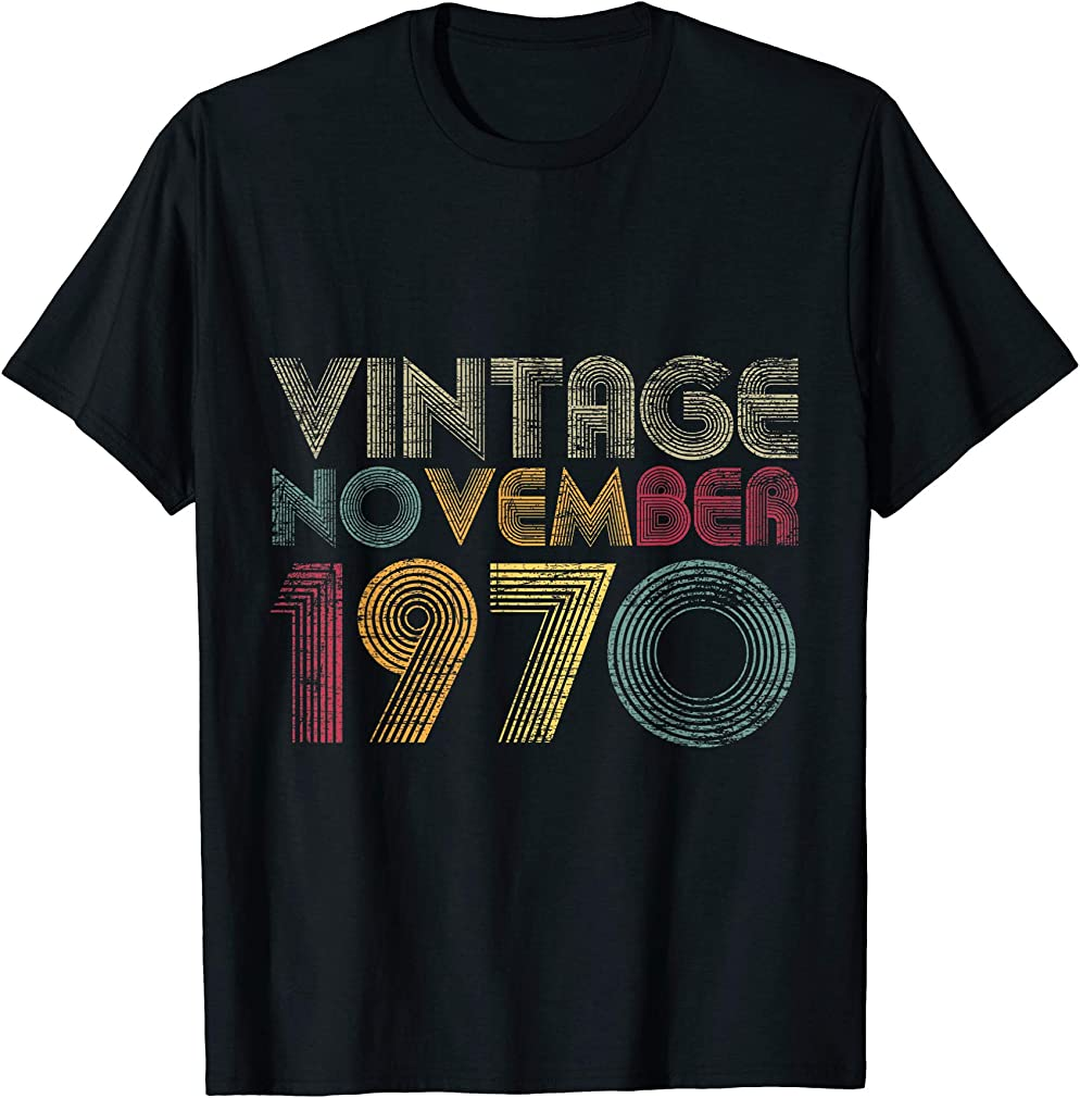 50th Birthday Gifts - Vintage November 1970 T-shirt