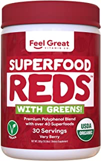 Superfood Vital Reds with Greens Juice Powder by Feel Great 365, Doctor Formulated,100% Non-GMO, Whole Food Multivitamin P...