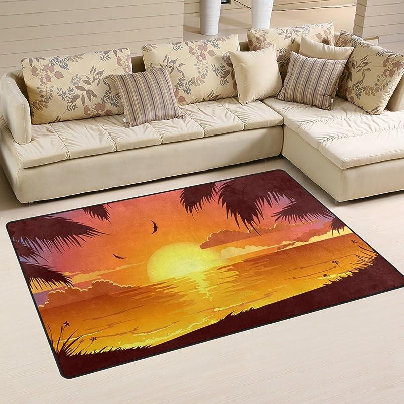 逆理由テクトニックバララ(La Rose) ラグ カーペット マット 洗える おしゃれ 滑り止め 絨毯 砂浜 ハワイ 休暇 ココナッツ 絵 ホットカーペット ウォッシャブル 心地よいサラふわ触感 折り畳み可 床暖房 対応 約幅152x99cm