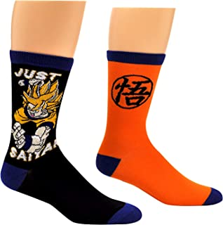 Dragon Ball Z Crew Socks (2 Pair) - Just Saiyan & Goku Symbol - Cosplay Socks Unisex, Men's, Women's