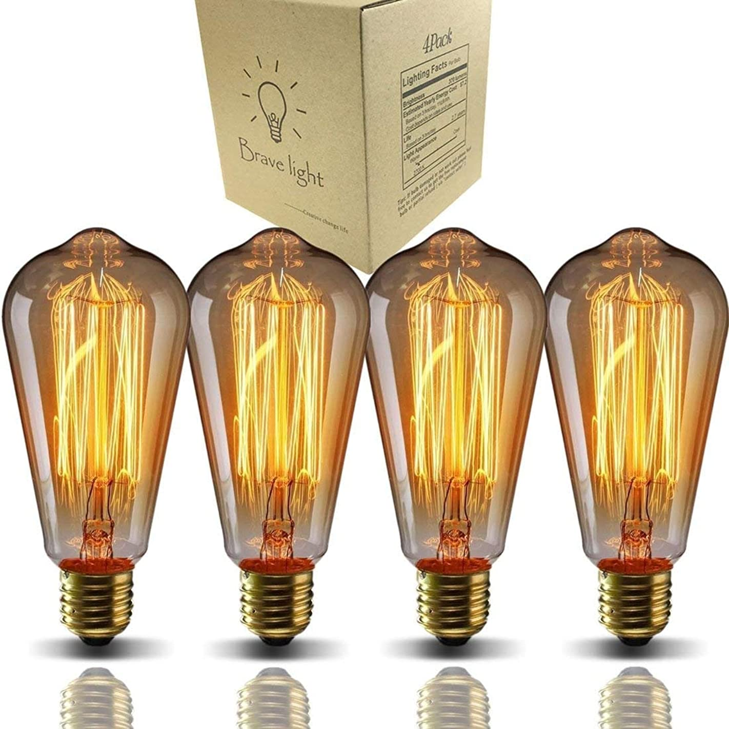浪費指紋見通しBravelight-エジソン電球 60W E26/E27口金 ST64 4個入り ヴィンテージエジソンランプ タングステンフィラメント電球(クリア) アンティーク風 調光器対応 ホーム照明装飾用器具 サブ照明 電球付け替え …