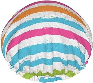 Dwuwarstwowy czepek prysznicowy, paisley kropek na geometrycznym tle, wodoodporne elastyczne czepki kąpielowe wielokrotneg...