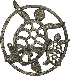 Zeckos Cast Iron Sea Turtle Decorative Wall Mounted Hanging Garden Hose Holder Bronze Finish