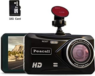 Peacall 4 Inch IPS Screen Dash Cam, Extra USB Charging Port for Phone and Other Device, Included 32G TF Card, 1080P Full HD, Wide Angle, G-Sensor, WDR, Night Vision, Parking Monitor, Loop Recording,