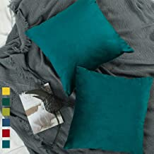 YINFUNG Teal Velvet Pillow Cover 18x18 Peacock Blue Decorative Couch Pillow Case Soft Square Bedroom Sofa Living Room 2 Pack Dark Blue Toss Pillow Cover Cushion Cover Hunter Green Forest